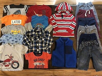Boys Size 24 Months - 2T 3T Fall Winter Clothes Clothing Lot 17 Items FREE SHIP