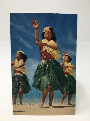 VINTAGE POSTCARD Hula Girl Girls Post card Honolulu Hawaii 1955 (#17-6920)