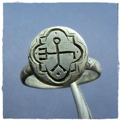 ** MONOGRAM **  beautiful  ancient SILVER BYZANTINE ring !!!