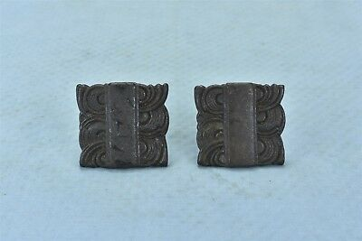 Antique SET of 2 CAST IRON  DRAWER HANDLE PULL HARDWARE LARGE SQUARE OLD #05396