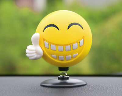 Car Smiley Ornament Bobble Head Happy Face Decoration Air Freshener Solid Balm