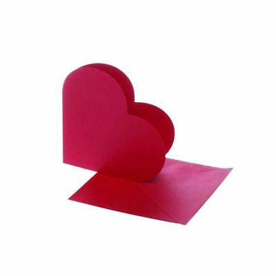 10 x Red Heart Shaped Blank Cards 12.5cm & Envelopes Hammer Finish Craft Making