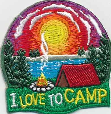 Girl Boy Cub I LOVE TO CAMP Sunset camping Fun Patches Crests Badge SCOUTS GUIDE