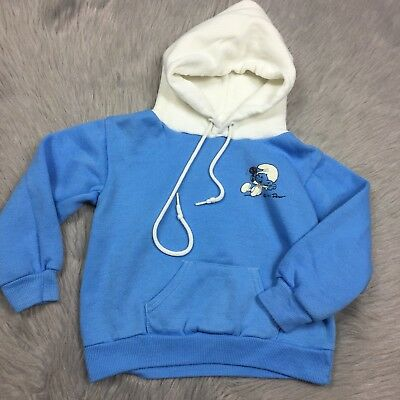 Vintage 1985 Smurfs Blue White Pocket Hooded Sweatshirt Toddler