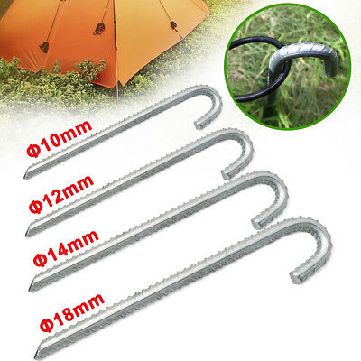 NEW 5/10/20Pcs Ribbed Steel Galvanised J Pin Pegs Camping Awning Ground Stakes