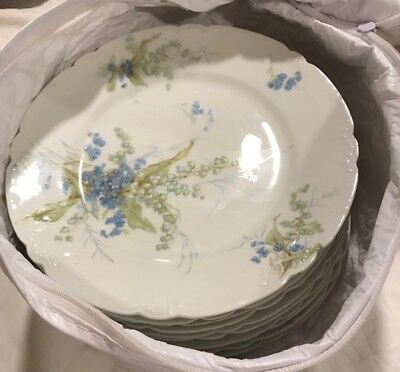 "Set Of 9 J. Pouyat Limoges 7 1/2"" Plates Lily of the Valley"