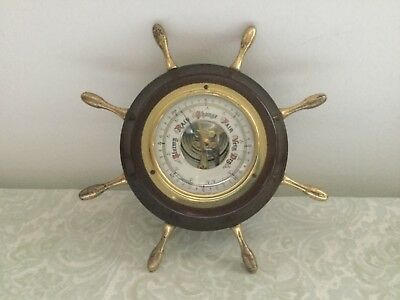 Wooden ship wheel barometer, made in West Germany, retro