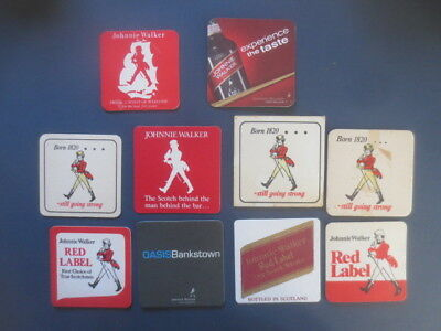 10 different JOHNNIE WALKER SCOTCH WHISKY Australian Issue collectable COASTERS