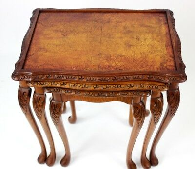 Vintage Carved Walnut Nest of 3 Coffee Side Tables - FREE Shipping [PL4541]