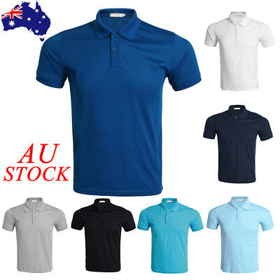 AU Mens Summer Classic Short Sleeve Cotton T-shirt Polo Shirts Casual Work Top