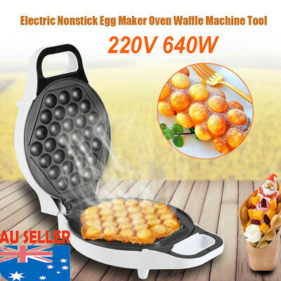640W 220-240V Electric Non stick QQ Egg Maker Oven Baker Waffle Eggettes Tool EB