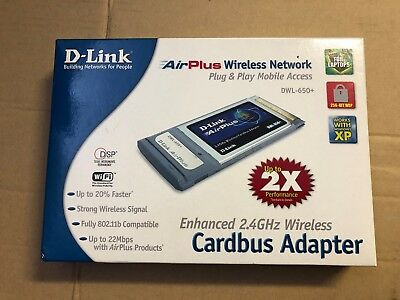D-Link DWL-650 + Cardbus PCMCIA Wifi Wireless Adapter - As New Open Box