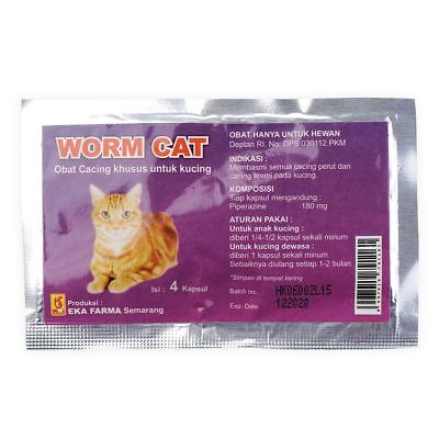 WORM CAT - Dewormer Allworms Round and Tap Worm Free for CAT PET - 4 Tablets