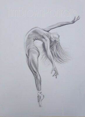 Hand-drawn graphite drawing of backbending ballet dancer, pencil on art paper A2