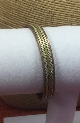 Vintage Bracelet Mixed metal Braided Cuff Copper Silver Brass Inlay
