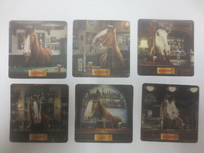 complete set of 6 different CARLTON CLYDESDALE HORSES Beer Issued  COASTERS