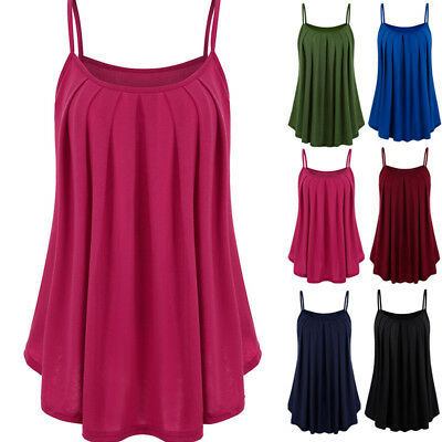 Womens Plain Flared Sleeveless Vest Ladies Strappy Cami Tank Top Plus Size 6-26