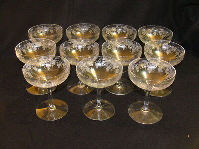 Fostoria 11 Low Sherbet Glasses Grape Etching Pattern