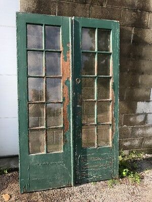 Mar 203 Match Pair Antique Flat Glass French Doors 48 X 79