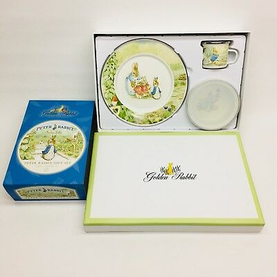 Golden Rabbit Enamelware Child's Serving Set Peter Rabbit Beatrix Potter