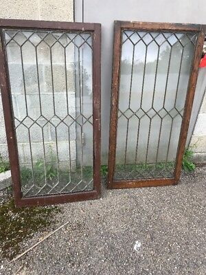 MAR 2062 available price separate antique leaded glass cabinet door or window 2…