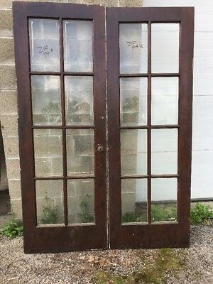 MAR 210 matched pair antique I'll beveled glass French doors 55.75 By 79.5