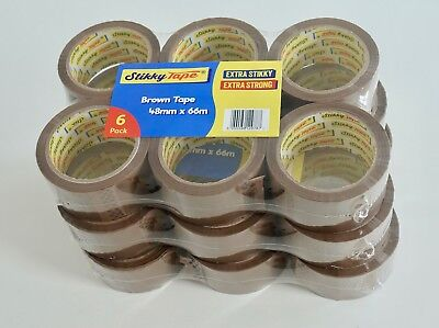 18 36 72 144  rolls CLEAR/ BROWN/ FRAGILE TAPE 48mm x 66m FREE NEXT DAY DELIVERY