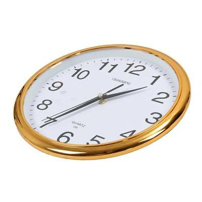 Large  Round Modern Home Bedroom Retro Time Kitchen Wall Clock Quartz Gold T3D6