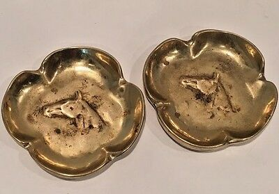 Vintage Solid Bronze Virginia Metal Crafters Four Leaf Clover Horse Head Ashtray