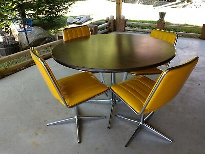 Vintage Chromecraft Dining Set Table And Chairs Yellow Padded Swivel Mcm