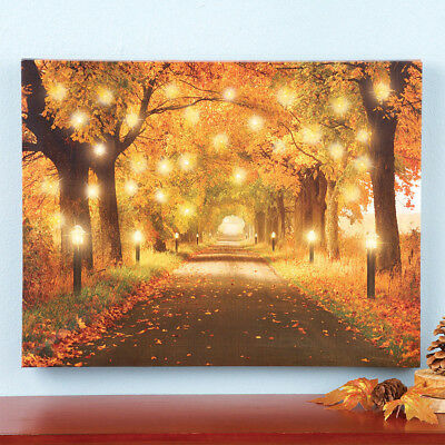AUTUMN LIGHTED HANGING Canvas Fall Wall Art Home Decoration Path LED ...