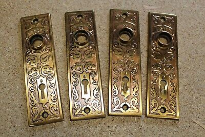 4 - Antique Victorian Era Brass Flashed Door Knob Backplates w/ Keyhole
