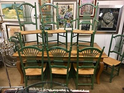 Vintage MacKenzie Childs Farmhouse Dining Room Set Table u0026 Eight Chairs & VINTAGE MACKENZIE CHILDS Farmhouse Dining Room Set Table u0026 Eight ...