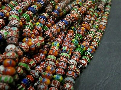 Old Multicolor Floral Mosaic Roman Glass Bead Necklaces |Roman Glass #RG10