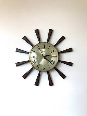 70s Stylish Iconic Mid Century Metamec starburst sunburst wall clock