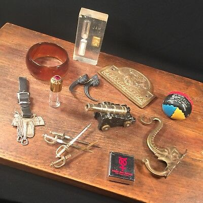 Vtg Junk Drawer Lot Brass Elephant Hook Claws Winchester Kennecott PRIORITY MAIL