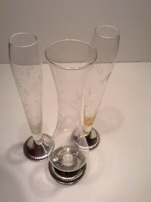 Lot Of 3 Sterling Silver Etched Glass Bud Vases Duchin Weighted Vintage