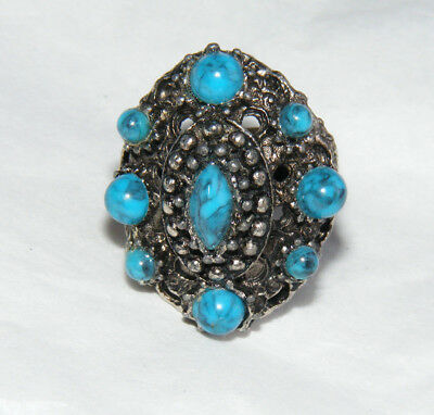 Vintage Silver Tone & Faux Turquoise Cabochon Adjustable Costume Ring S2