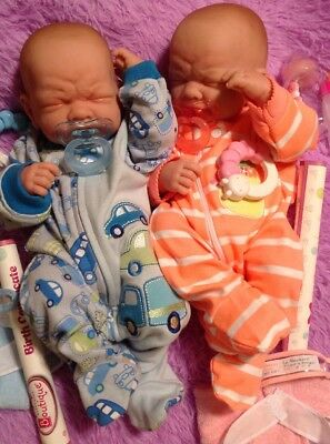 Twins So Cute!!Reborn First Tears Boy And Girl W Pacifiers/Bottles Preemie Dolls