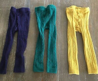 Mini Boden Girls Thick Knit Tights Sz 3-4 Y
