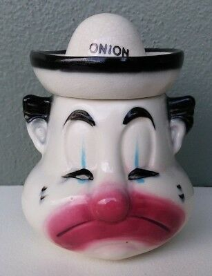 AMERICAN BISQUE POTTERY - 1950's SAD CLOWN ONION CONDIMENT JAR