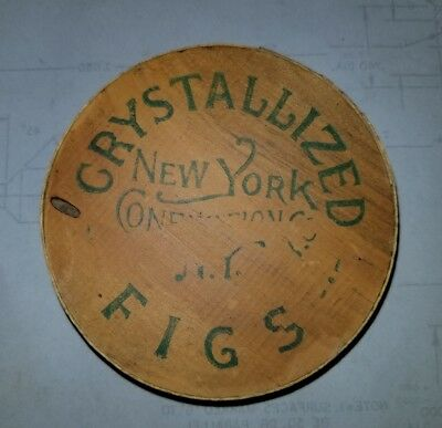 Great Older Vintage New York Confection Co Crystallized Fig Wood Box Unusual