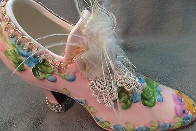 """9"""" High Heeled Ceramic shoe w/ bow and flowers"""