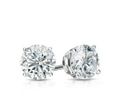 Diamond Stud Earrings Round Diamond Solitaire Earrings 14k White Gold