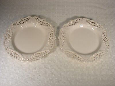 Pair of Creamware Reticulated Plates with Garlands
