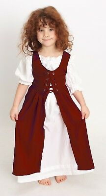 Renaissance Child 's Princess Party OVERDRESS ONLY Size:Lass Tal Color:Cranberry