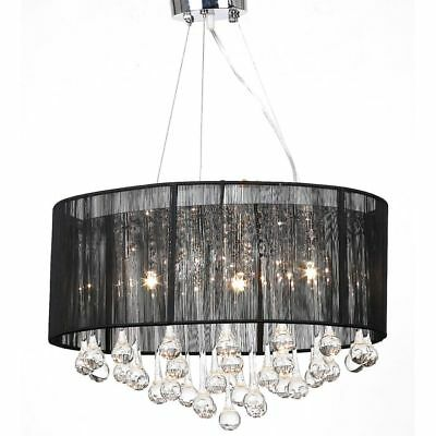 Black Drum Pendant Light Shade Crystal Ceiling L& Chandelier Fixture Lighting  sc 1 st  PicClick : drum pendant lighting with crystals - www.canuckmediamonitor.org
