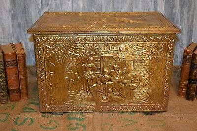 Antique Large Fireplace Kindling Box Wood Brass Repousse Victorian Scene Chest