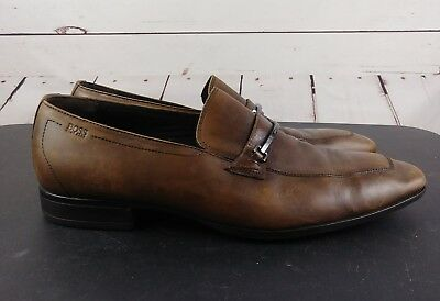 b52d7b3e879 Hugo Boss Mens Slip-On Brown Leather Horse Bit Dress Casual Loafers Shoes  Sz 9.5