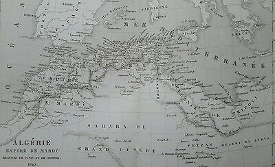 antique 1863 French Map of Algeria Empire of Morocco Africa Sahara Desert